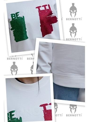 Bernotti 79 Beyaz Baskı Detaylı Sıfır Yaka Erkek Sweatshirt Beyaz